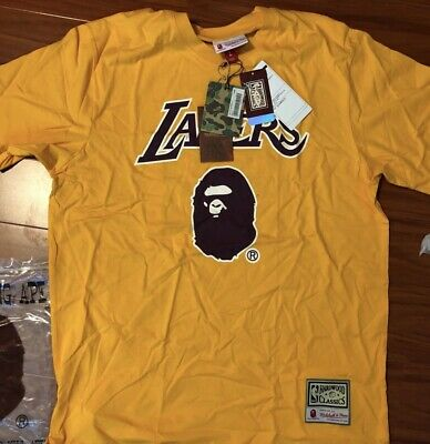 86a703ed7a7 BAPE X MITCHELL   Ness Lakers Tee Shirt Small NEW -  195.00