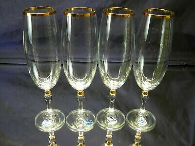 Vintage Set Of 4 Wine Glasses Gold Rim With Gold Knob Bohemia Crystal