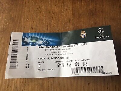 Entrada Ticket Real Madrid Manchester City England Champions League 2012 2013 C1