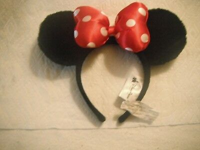Disney Parks Black  Mickey  Ears Headband with Red Minnie Mouse Bow - NEW