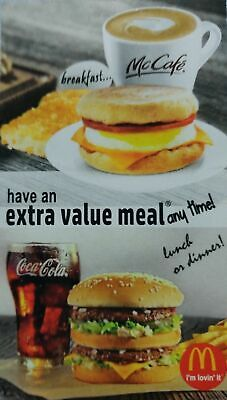 5 McDonald's Free Extra Value Meal Cards - No Expiration Date. Free Shipping