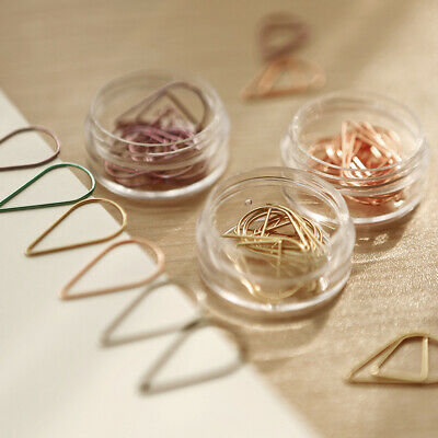 20pcs Water Drop Shape Metal Paper Clips Bookmark Clip Tationery Office Supplies