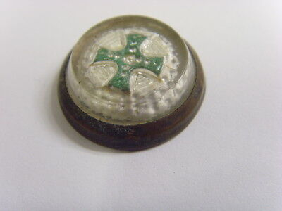 antique christian green iron cross motif glass cabochon paperweight token fv1522