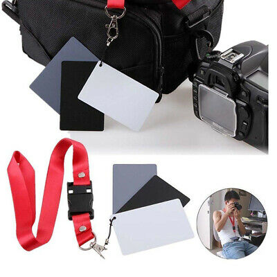 Photography Studio 18% Digital Color Gray White Black Balance Card Neck Strap