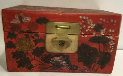 Antique Chinese Box Red Lacquer, Gilt Hand painted Chinoiserie Original, Brass