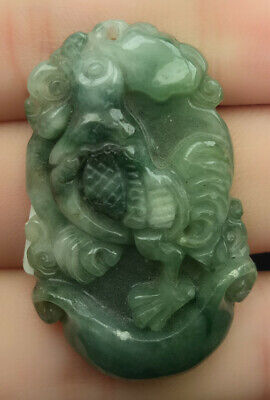 Certified Oily Green 100% Natural A Jade Jadeite Hand-Carved Cock Ruyi Pendant