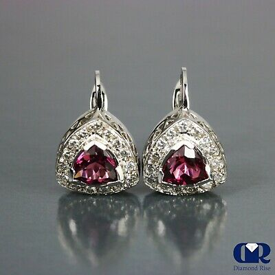 3.16 Ct Pink Trillion Tourmaline & Diamond Earrings In 14K White Gold With Lever