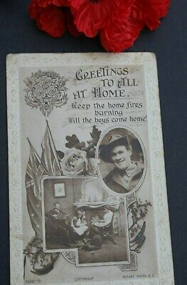Ww1 Postcard 'Greetings To All At Home' - From Percy To Daisy