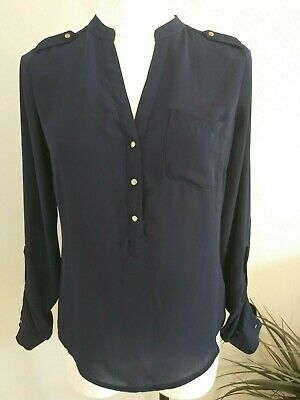 68dd9c32 Women's XS THE LIMITED Blue 3 Button Front Blouse Top-Long Roll Tab Sleeves  NEW