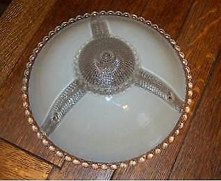 Antique Vintage Art Deco  Beige Cream Frost Clear Glass Ceiling Light Shade
