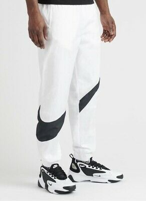 6c54beec58 Nike Pants Men's Black White, Woven Giant Swoosh Casual AR9894-100 Size  Small