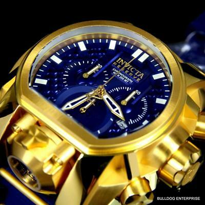 Invicta Bolt Zeus Magnum Blue Gold Plated 52mm Dual Swiss Movt Chrono Watch New