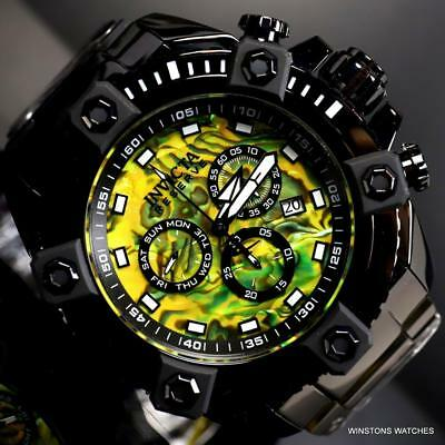 Invicta Reserve Grand Octane Yellow Abalone 63mm Black Steel Swiss Mvt Watch New