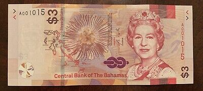Bahamas 3 dollars 2019 Brand New Issue QEII Very low Serial # UNC A001015
