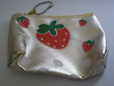 Gold Strawberry Zip Coin Purse
