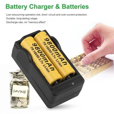 Ultrafire 4 pcs 6000mAh 18650 Battery 3.7V Li-ion Rechargeable. Includes charger