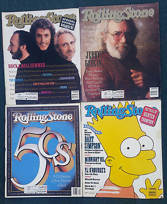 Rolling Stone, 4 issues 1989 / 1990 Garcia, WHO, Simpsons, Gilda Radner, BB King