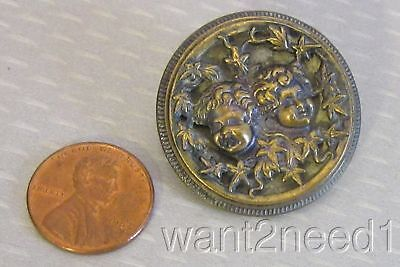 19C antique French TWINS PICTURE BUTTON brass bursting out baby faces 32mm large