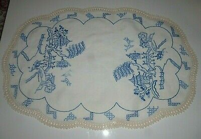 Blue Willow- Beautiful Vintage Doily- Large-Vgc
