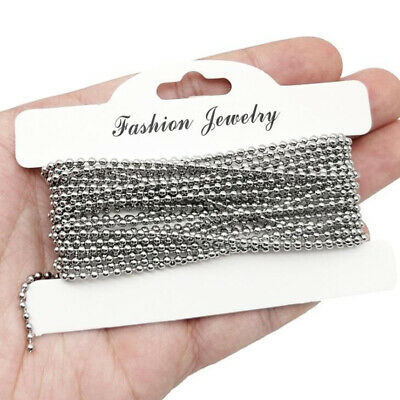 Wholesale Stainless Steel Ball Necklace Chain Silver 5M/10M Bead 1.5/2/2.4/3mm
