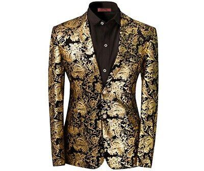 Men's Dress Floral Suit Notched Lapel Slim Fit Stylish Blazer Dress Suit XL