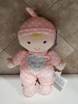 NWT Carters Child Of Mine My 1st First Doll Pink Heart Sleeper Blonde Baby Plush