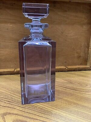 Vintage Heavy Crystal Middle Eastern Decanter w Arabic Writing Colored Glass
