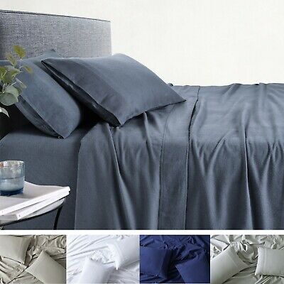100% Premium Cotton Flannelette Sheet Sets Bed Fitted Sheets Pillow Cases 170GSM