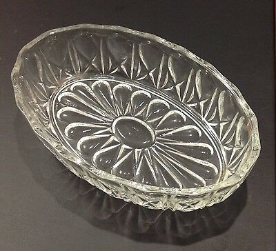 Reims French Pressed Glass Vintage Oval Jelly Dish Serving Dish Dessert Dish