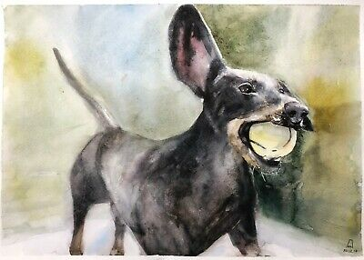original painting art dog watercolor 14LM-X peinture originale art A3