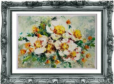 original drawing art flowers oil 19BY dessin original huile de fleurs А3