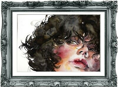 original painting art surreal female portrait 81BK watercolor  А3