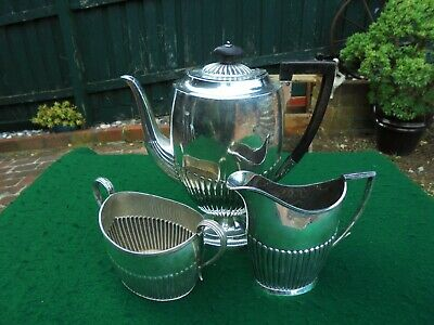 ANTIQUE ENGLISH SILVER PLATE GEORGIAN STYLE TEA POT SET c1900