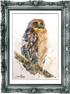 original painting owl watercolor 190LM originale art A4