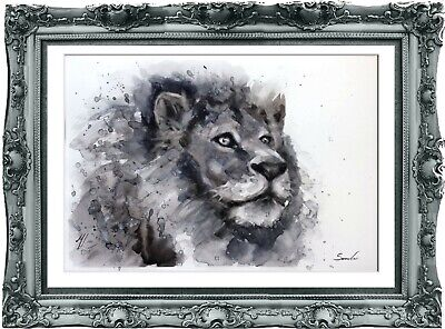 original painting lion watercolor 204LM peinture originale art A3