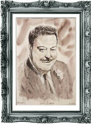 original painting art portrait Jackie Gleason 263UV watercolor  A3
