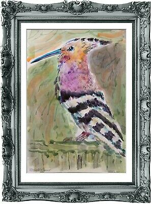 original painting bird watercolor 268UV peinture originale art A3