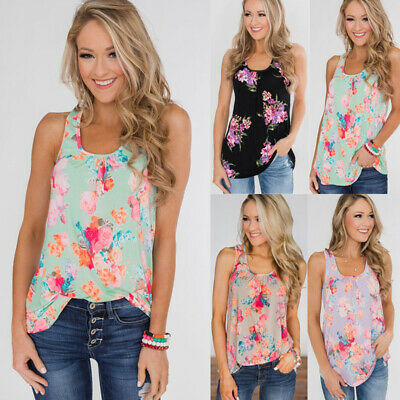Womens Sleeveless T-Shirt Vest Ladies Summer Beach Casual Floral Tops Blouse