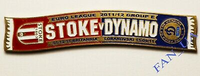 Match Badge SCARF Pin FC STOKE City England - Dynamo Kiyv Ukraine 2011/2012