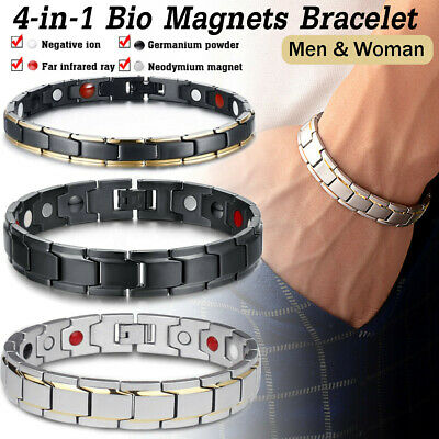 Therapeutic Energy Healing Bracelet Stainless Steel Magnetic Health Care AU