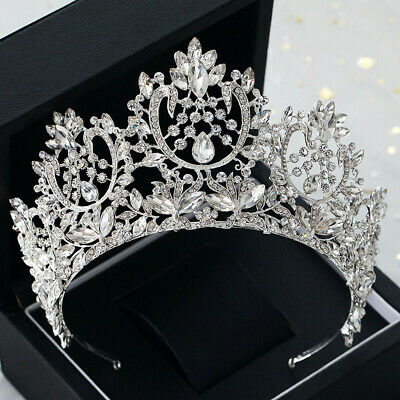 8.5cm High Luxury Crystal Tiara Crown Wedding Bridal Party Pageant Prom Headband