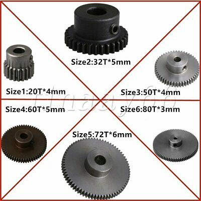 Spur Pinion Gear With Step 0.5Mod 20T-80T 45# Steel Motor Gear With Fixing Screw