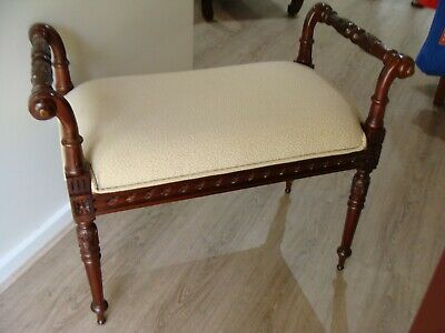 Large Piano Stool Ottoman Bedroom Chair, Carved Wood, Early Settler, Can Deliver