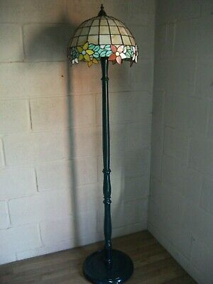 Art Nouveau Floor Lamp Wood and Glass Tiffany Styled Floor Lamp