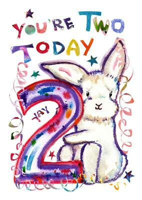 Second Birthday Card Two Bunny 2 Year Old Boy Girl Child Kids Kid Bunnies