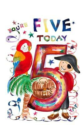 Fifth Birthday Card Five Pirate 5 Year Old Girl Child Kids Kid Daughter Boy Son