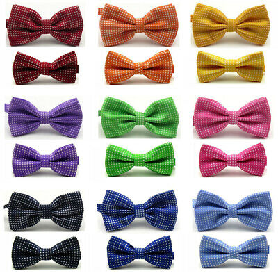 Men Kids Boys Matching Bow Tie White Polka Dots Adjustable Bowties Set Party