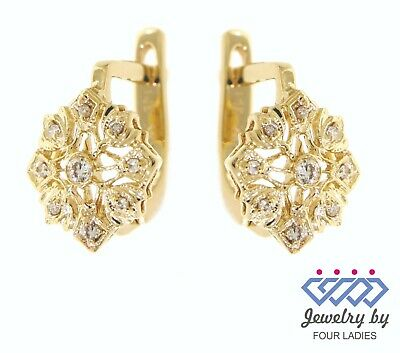 64e19eb11 Solid Real Natural Diamond 14K Yellow Gold 0.10CT Daily Wear Huggies  Earrings