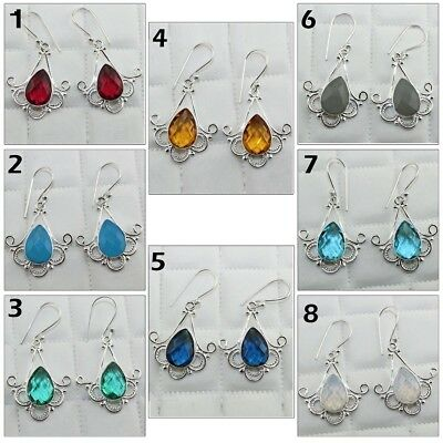 Silver Plated Opalite Quartz And Chalcedony Hook Earring Pear Gemstone Jewelry