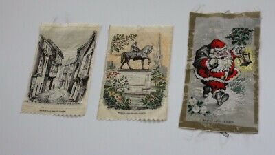 Bundle of 3 vintage Cash's woven silk pictures: Coventry, Lady Godiva & Santa